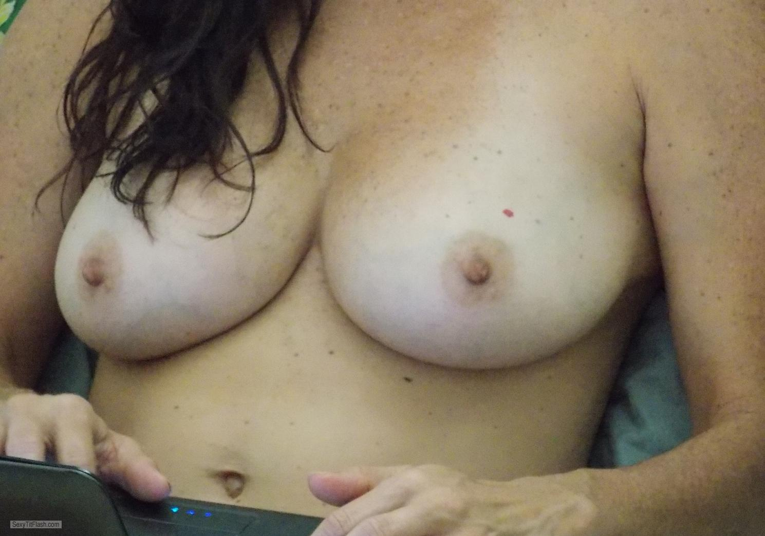 Tit Flash: Wife's Medium Tits - Fernanda From Brazil from Brazil